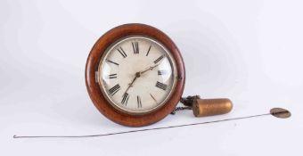 A 19th Century mahogany cased dial alarm clock with single weight and pendulum, diameter 30cm.