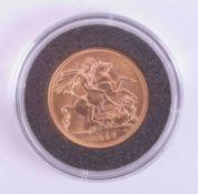 Queen Elizabeth II, gold full sovereign 1957, with certificate.