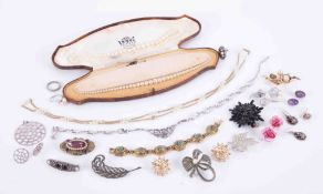 A collection various costume jewellery including brooches, earrings, etc, together with three silver