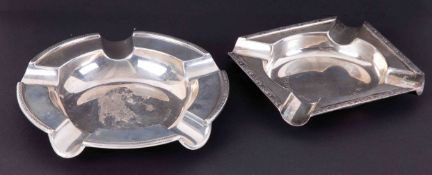 A George V Walker & Hall silver ashtray together with another (2), 177gms.