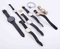 A mixed collection of watches including ladies vintage gold watch, no strap, vintage cushion cased
