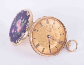 A antique gold fob watch, Geneva, stamped 'Shauffer', marked 18k with key wind movement and