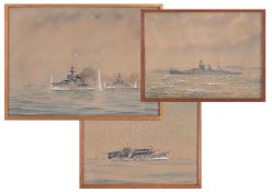 Eric Tufnell (1888-1978), three gouache warship paintings including HMS Cardiff 1917, HMS Furious