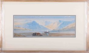 In the manner of Tristram Ellis (1844-1922), 'Mountain Scene' watercolour, 16cm x 48cm, indistinctly