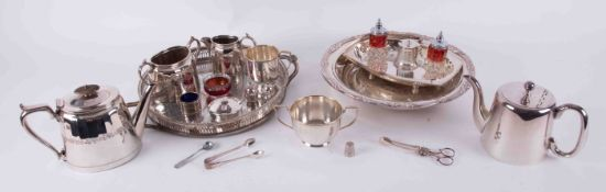 A collection of various silver plated tea wares, trays, Australia enamelled box, condiments, sugar