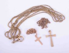 A mixed bag of 9ct gold jewellery comprising three chains, two crosses, approx. 31gm.