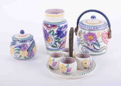A Poole art pottery vase, height 16cm, together with Poole biscuit barrel, Carter, Stabler, Adams