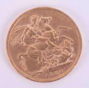 Victoria, gold full sovereign 1884.