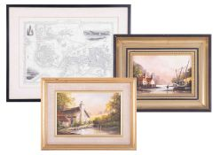A collection of mixed pictures including Gerald Norden 'Venice' oil on board, framed etc, (7).