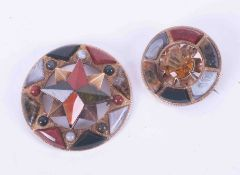 Two antique gold Celtic brooches set with citrine and mixed agates (2).