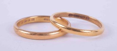Two 22ct gold wedding bands, both size N, total weight 5.48gm.