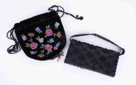 Two evening bags (one boxed), one beaded.