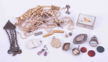 A mixed bag of silver and gold plated items including pearls, gold locket, Longines watch dial etc.
