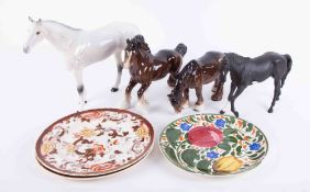 A large Beswick white stallion, height 29cm together with two Beswick shire horses and a matt