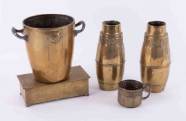 Brass WMF, a pair of hammered vases, an ice bucket and cigarette box (4).