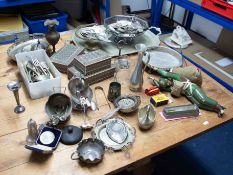 A collection of various assorted silver plated wares, Indian small boxes, unusual carved wood