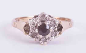 A white & yellow gold sapphire & diamond cluster ring with detailed Insurance replacement valuation,