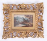 A miniature painting, watercolour of a river landscape in Florentine style giltwood frame, overall