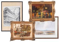 A collection of various decorative pictures and prints including Brian Hayes, Johne Makin, small pub