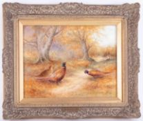 Milwyn Holloway fine art ceramic painting on porcelain, signed, in gilt frame, overall size 34cm x