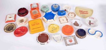 A collection of pub advertising ashtrays including Wade, Stuarts Whisky, Watsons Number 10, Will's
