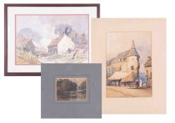 E.N.Morgan, watercolour, cottages, 28cm x 40cm, together with two Continental unframed Breton?