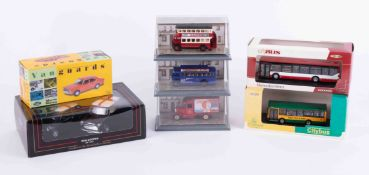 Collection of model cars including Van Guards, Lledo 'The Queen Mother Set', Maisto Sports Car