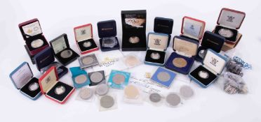 A mixed collection of commemorative coins including Royalty mainly nickel but also silver proof