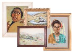 A collection of six various pictures including Rose E Stanton 1906, watercolour and another, N W