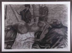 An unsigned 20th century charcoal 'Art Class, Life Study - Nude', 56cm x 79cm, framed and glazed.