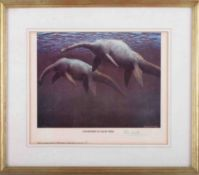 Peter Scott, signed edition print, 45/500 titled Courtship in Loch Ness, framed and glazed.