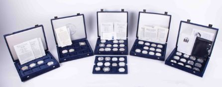 Westminster Mint, five boxed full and part sets including history of the RAF, set of twelve silver