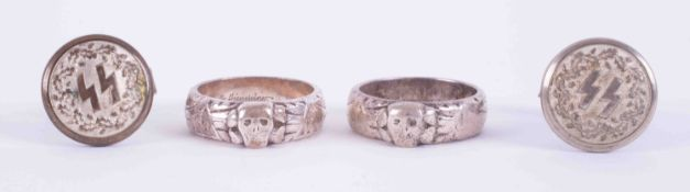 A pair of German cufflinks marked SS 3rd Reich, together with two silver rings marked 900