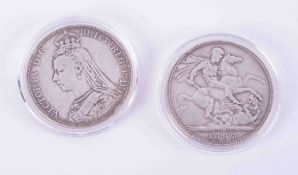 Two Victoria crowns 1890 and 1897.
