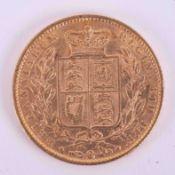 Victoria, gold full sovereign (shield back) 1863.