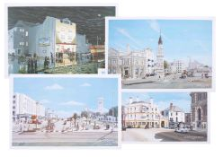 Johne Makin, Plymouth scenes, collection of four local prints, circa 1996.