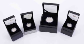 Royal Mint, two 2008 silver proof one pound coins, The Last Round Pound 2016 silver proof and five