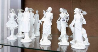 Royal Worcester, The Vogue collection of sixteen white porcelain figurines, each boxed (16).