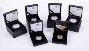 Royal Mint, a collection of six silver proof commemorative coins including 2008 Prince of Wales,