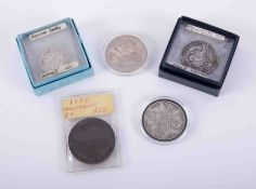 George III, 1797 Cartwheel two pence, Victoria, 1889 crown, 1951 crown together with Isles of Scilly