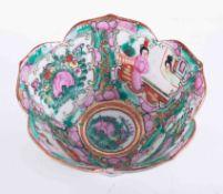 An early 20th century Cantonese petal bowl, diameter 12cm, height 6cm.