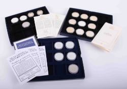 Westminster Mint, Seafaring & Exploration five silver five pounds coins, together with two other