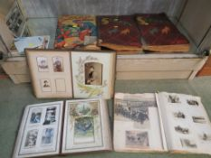 TWO VICTORIAN PHOTOGRAPH ALBUMS WITH CONTENTS, FOUR VINTAGE SCRAPBOOKS WITH CONTENTS INCLUDING