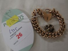 YELLOW METAL CHAIN LINK BRACELET WITH HEART-SHAPE CLASP AND SAFETY CHAIN, STAMPED 9CT, 22.3G, AND
