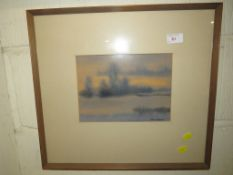Framed and mounted mixed media winter landscape signed lower right.