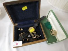 Gents wristwatch, scouts medal, cufflinks etc.