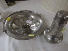 A PLANISHED PEWTER SERVING BOWL WITH HANDLE, A TALBOT PEWTER SUGAR CASTER, AND A PEWTER NAPKIN RING