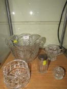 FIVE ITEMS OF CUT GLASS INCLUDING DRESSING TABLE JAR AND BOWLS
