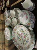 MINTON HADDON HALL TEA POT, MILK JUG, SERVING PLATES AND BOWL.