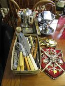 STAINLESS CUTLERY, PEWTER HIP FLASKS, HEAT MASTER TEA AND COFFEE POTS AND OTHER METAL WARE.
